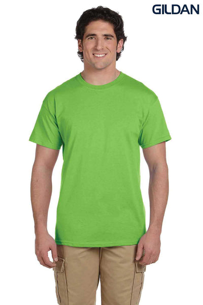 Gildan G200 Mens Cotton Short Sleeve Crewneck T-Shirt Lime Green Front