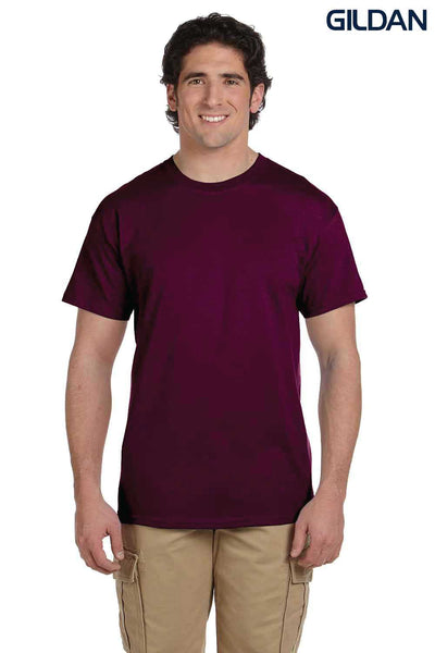 Gildan G200 Mens Cotton Short Sleeve Crewneck T-Shirt Maroon Front