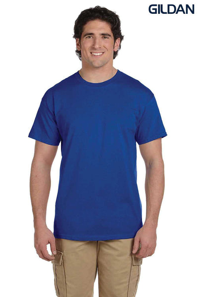 Gildan G200 Mens Cotton Short Sleeve Crewneck T-Shirt Metro Blue Front