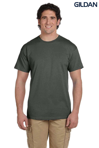 Gildan G200 Mens Cotton Short Sleeve Crewneck T-Shirt Military Green Front
