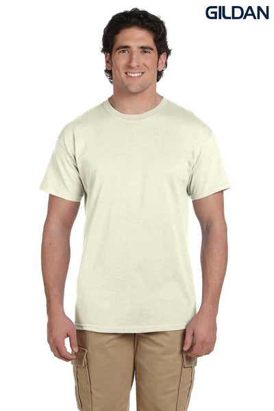 Gildan G200 Mens Cotton Short Sleeve Crewneck T-Shirt Natural Front
