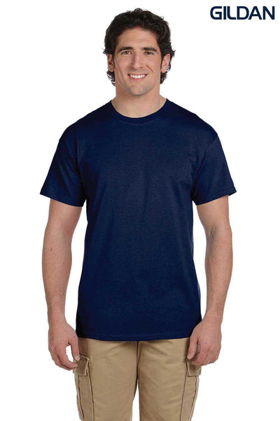 Gildan G200 Mens Cotton Short Sleeve Crewneck T-Shirt Navy Blue Front