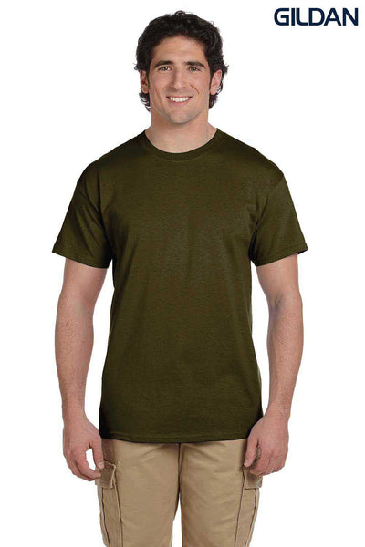 Gildan G200 Mens Cotton Short Sleeve Crewneck T-Shirt Olive Green Front