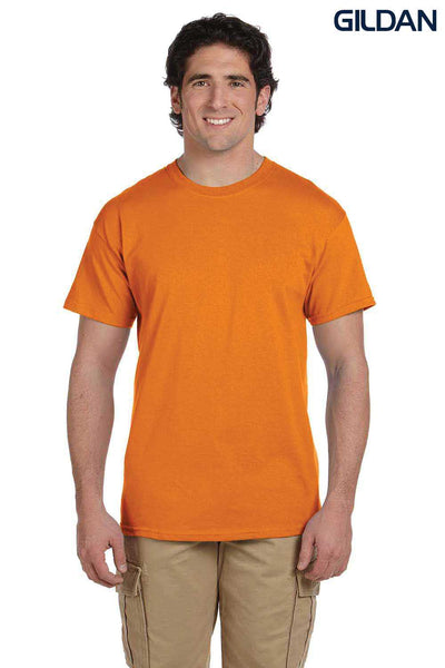 Gildan G200 Mens Cotton Short Sleeve Crewneck T-Shirt Safety Orange Front
