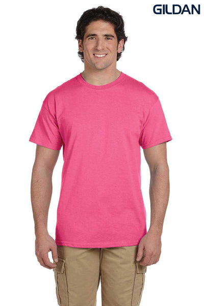 Gildan G200 Mens Cotton Short Sleeve Crewneck T-Shirt Safety Pink Front