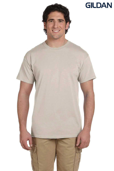 Gildan G200 Mens Cotton Short Sleeve Crewneck T-Shirt Sand Brown Front