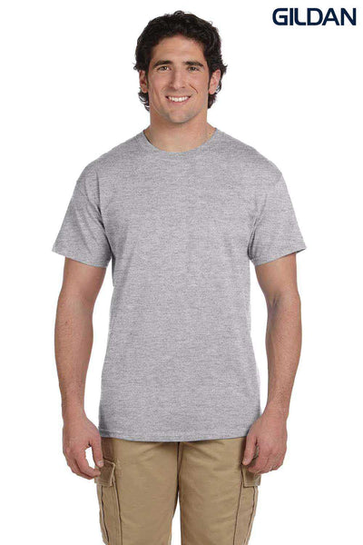 Gildan G200 Mens Cotton Short Sleeve Crewneck T-Shirt Sport Grey Front