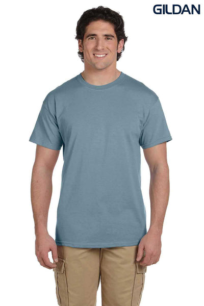 Gildan G200 Mens Cotton Short Sleeve Crewneck T-Shirt Stone Blue Front