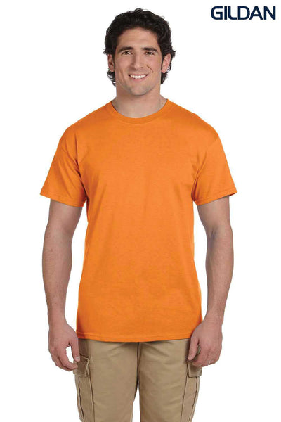 Gildan G200 Mens Cotton Short Sleeve Crewneck T-Shirt Tangerine Orange Front