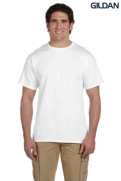 Gildan G200 Mens Cotton Short Sleeve Crewneck T-Shirt White Front