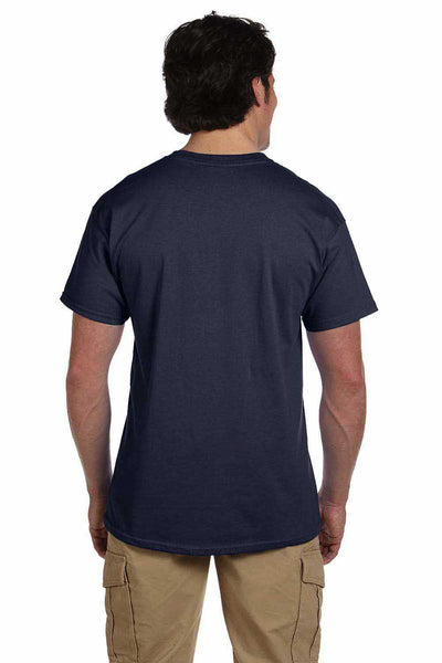 Gildan G200 Mens Cotton Short Sleeve Crewneck T-Shirt Heather Navy Blue Back