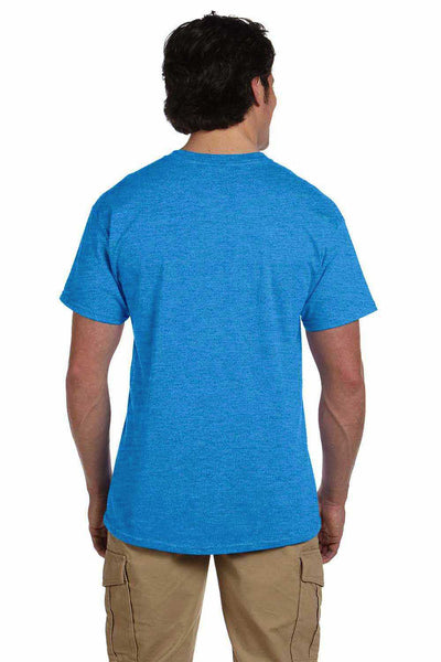 Gildan G200 Mens Cotton Short Sleeve Crewneck T-Shirt Heather Sapphire Blue Back