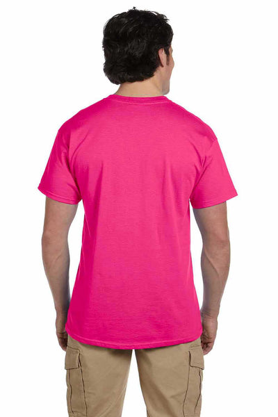 Gildan G200 Mens Cotton Short Sleeve Crewneck T-Shirt Heliconia Pink Back