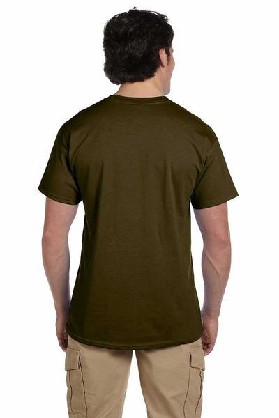 Gildan G200 Mens Cotton Short Sleeve Crewneck T-Shirt Olive Green Back