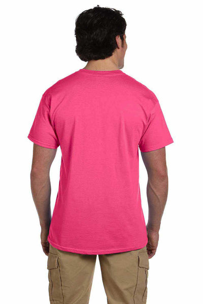 Gildan G200 Mens Cotton Short Sleeve Crewneck T-Shirt Safety Pink Back