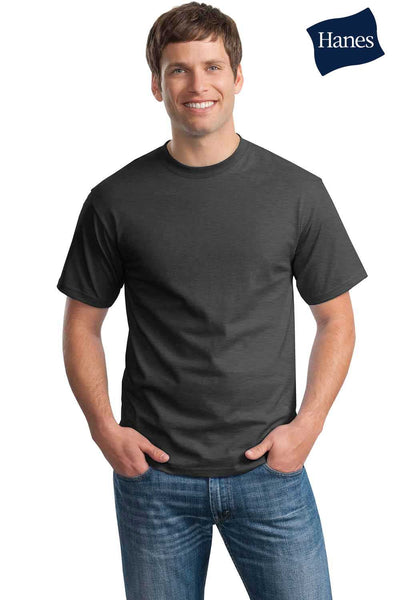 Hanes 5250T Mens ComfortSoft Short Sleeve Crewneck T-Shirt Heather Charcoal Grey Front