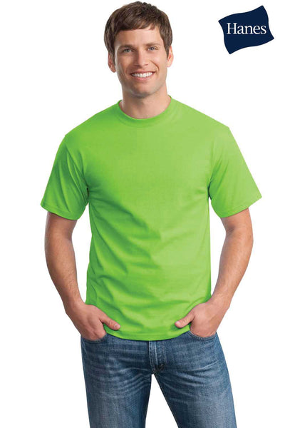 Hanes 5250T Mens ComfortSoft Short Sleeve Crewneck T-Shirt Lime Green Front