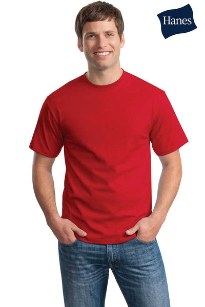Hanes 5250T Mens ComfortSoft Short Sleeve Crewneck T-Shirt Red Front