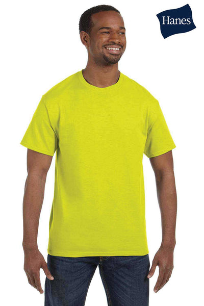 Hanes 5250T Mens ComfortSoft Short Sleeve Crewneck T-Shirt Safety Green Front