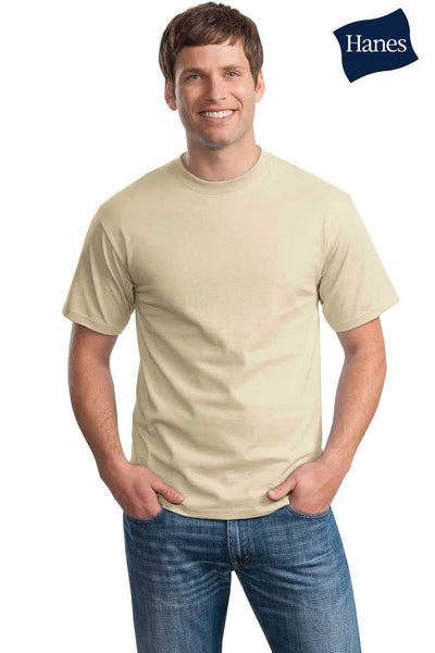 Hanes 5250T Mens ComfortSoft Short Sleeve Crewneck T-Shirt Sand Brown Front