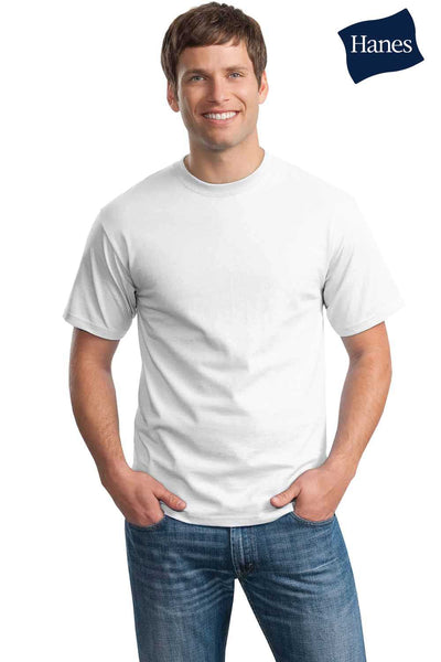Hanes 5250T Mens ComfortSoft Short Sleeve Crewneck T-Shirt White Front