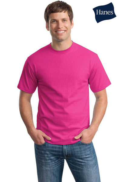 Hanes 5250T Mens ComfortSoft Short Sleeve Crewneck T-Shirt Wow Pink Front