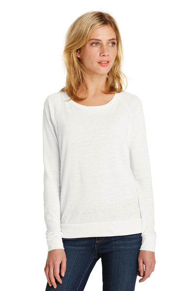 Alternative AA1990 Womens Slouchy Eco Jersey Wide Neck Sweatshirt Ivory White Front