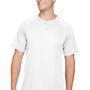 Augusta Sportswear Mens White Attain 2 Button Short Sleeve Baseball Jersey