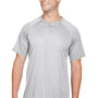 Augusta Sportswear Mens Silver Grey Attain 2 Button Short Sleeve Baseball Jersey
