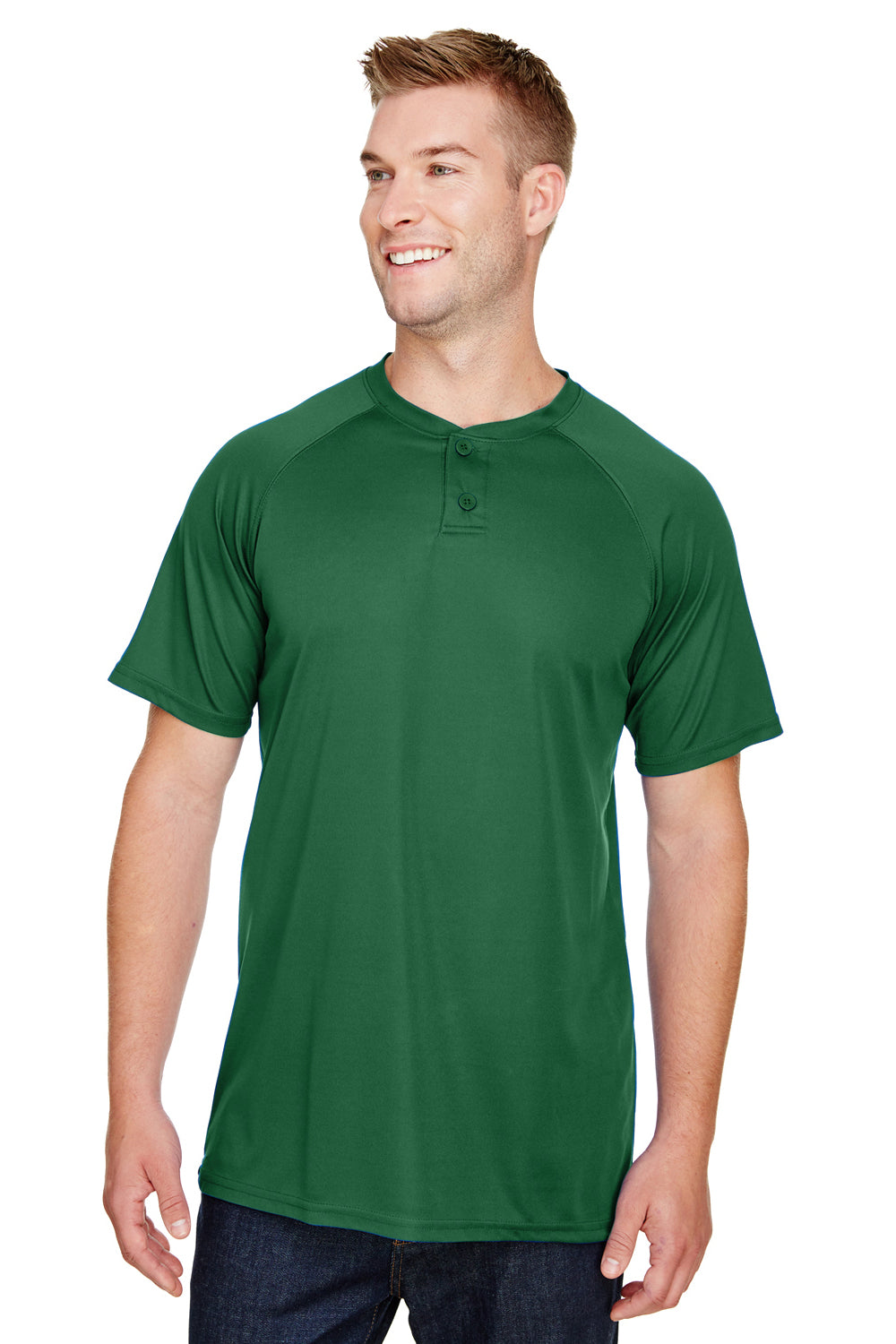 Augusta Sportswear AG1565 Mens Attain 2 Button Short Sleeve Baseball Jersey Dark Green Front
