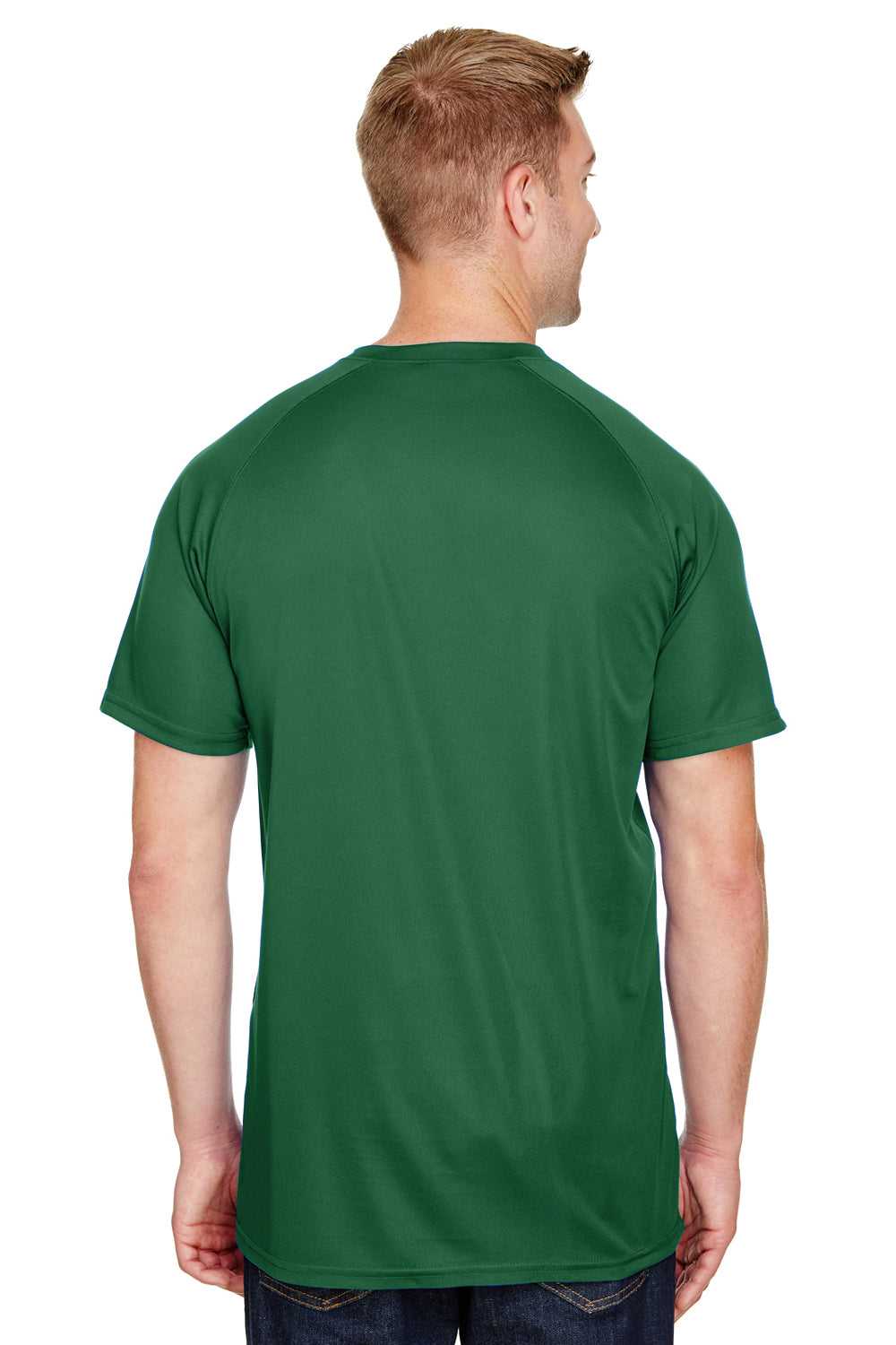 Augusta Sportswear AG1565 Mens Attain 2 Button Short Sleeve Baseball Jersey Dark Green Back
