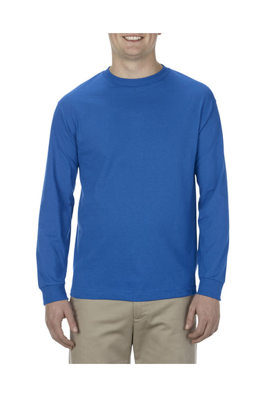 Alstyle AL1304 Mens Long Sleeve Crewneck T-Shirt Royal Blue Front
