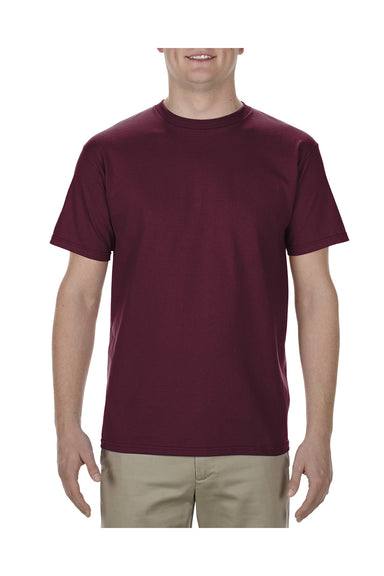 Alstyle AL1701 Mens Soft Spun Short Sleeve Crewneck T-Shirt Burgundy Front