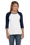 Bella + Canvas B2000 Womens 3/4 Sleeve Crewneck T-Shirt White/Navy Blue Front
