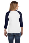 Bella + Canvas B2000 Womens 3/4 Sleeve Crewneck T-Shirt White/Navy Blue Back