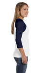 Bella + Canvas B2000 Womens 3/4 Sleeve Crewneck T-Shirt White/Navy Blue Side