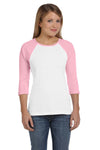 Bella + Canvas B2000 Womens 3/4 Sleeve Crewneck T-Shirt White/Pink Front