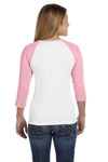 Bella + Canvas B2000 Womens 3/4 Sleeve Crewneck T-Shirt White/Pink Back