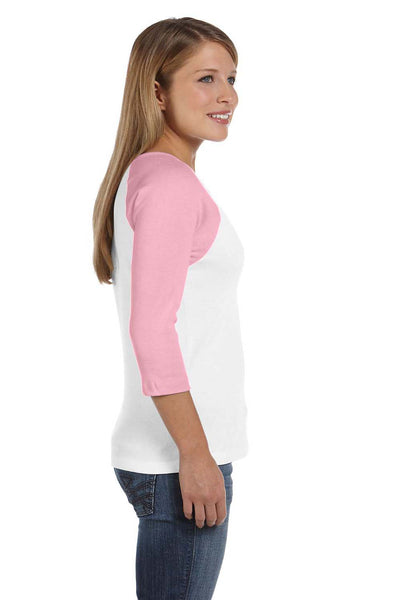 Bella + Canvas B2000 Womens 3/4 Sleeve Crewneck T-Shirt White/Pink Side