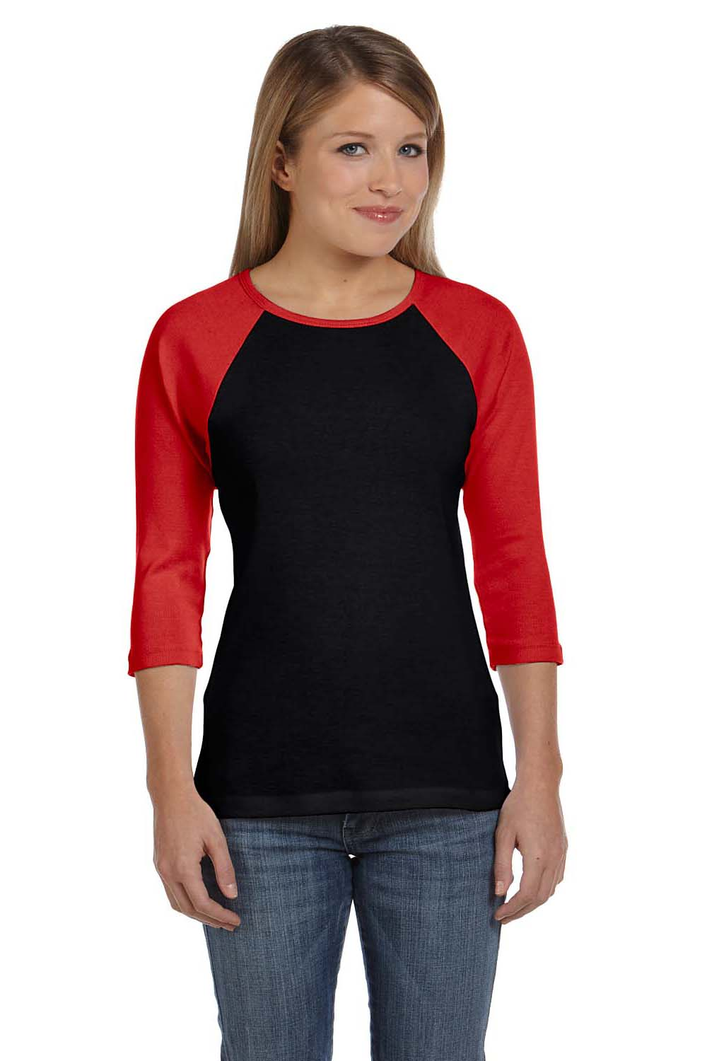 Bella + Canvas B2000 Womens 3/4 Sleeve Crewneck T-Shirt Black/Red Front