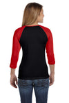 Bella + Canvas B2000 Womens 3/4 Sleeve Crewneck T-Shirt Black/Red Back