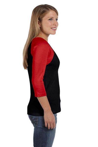 Bella + Canvas B2000 Womens 3/4 Sleeve Crewneck T-Shirt Black/Red Side