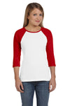 Bella + Canvas B2000 Womens 3/4 Sleeve Crewneck T-Shirt White/Red Front