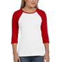 Bella + Canvas Womens 3/4 Sleeve Crewneck T-Shirt - White/Red