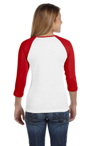 Bella + Canvas B2000 Womens 3/4 Sleeve Crewneck T-Shirt White/Red Back
