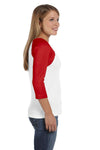 Bella + Canvas B2000 Womens 3/4 Sleeve Crewneck T-Shirt White/Red Side