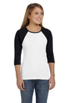 Bella + Canvas B2000 Womens 3/4 Sleeve Crewneck T-Shirt White/Black Front