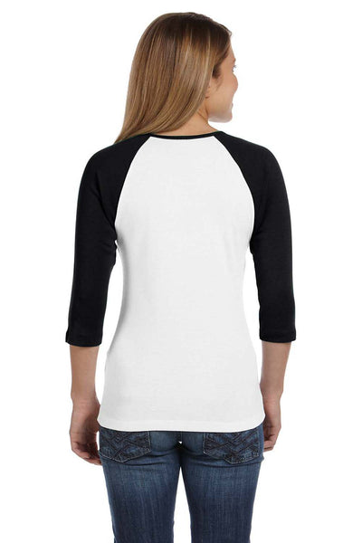 Bella + Canvas B2000 Womens 3/4 Sleeve Crewneck T-Shirt White/Black Back
