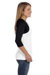Bella + Canvas B2000 Womens 3/4 Sleeve Crewneck T-Shirt White/Black Side