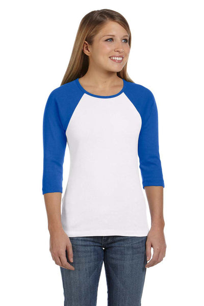 Bella + Canvas B2000 Womens 3/4 Sleeve Crewneck T-Shirt White/Royal Blue Front